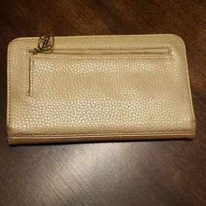 Adrienne Vittadini Gold Wallet Clutch with Handle